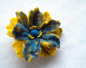 Purple Heart Brooch Felted Brooch Blue Brooch by elenasfelting