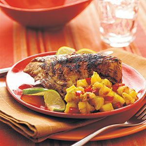 Rum-Marinated Chicken Breasts with Pineapple Relish | MyRecipes.com    The Pineapple relish makes the dish!