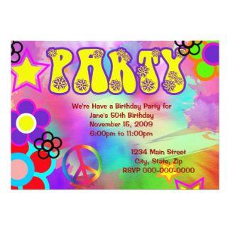 Schön Hippy Rainbow Retro Birthday Party Invitation | Party Invitations,  Einladungs · Einladungskarten Zum Geburtstag