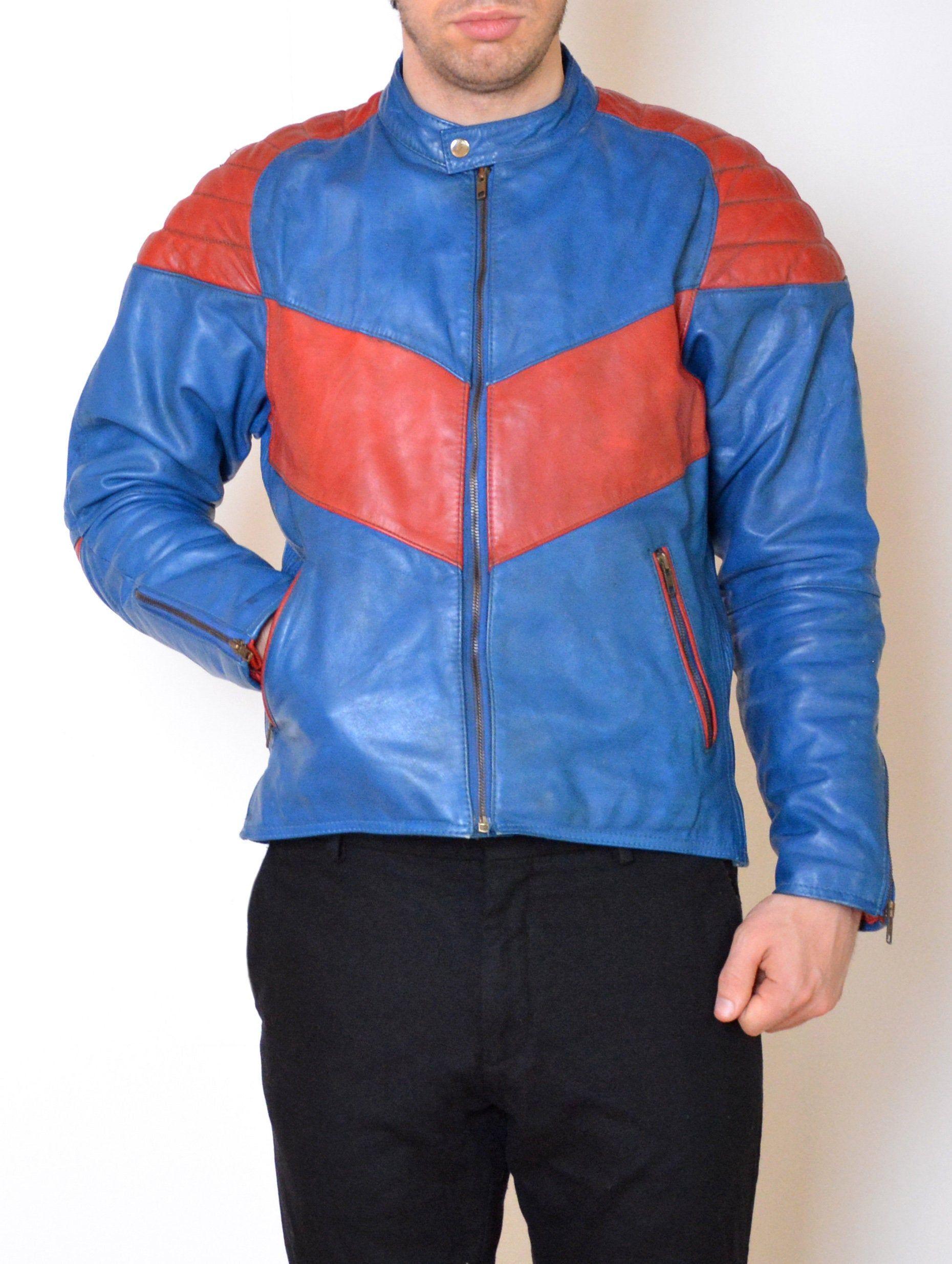Vintage red /& blue windbreaker light riding jacket Men/'s Medium