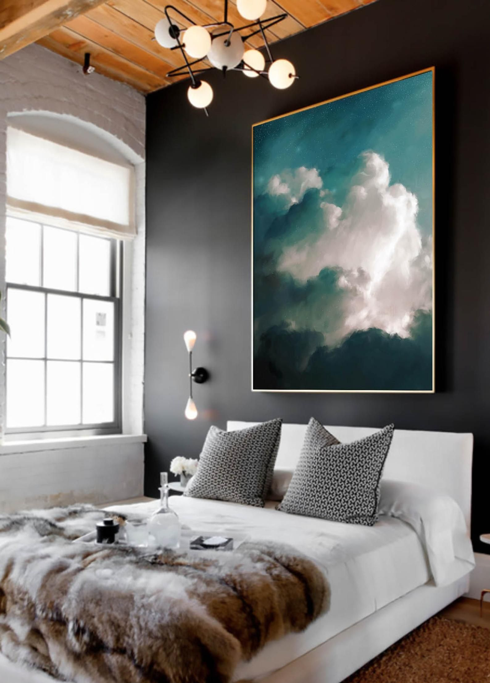 Stylish Master Bedroom Decorating Ideas Blue Abstract Painting Large Wall Art Abstract Painting Print