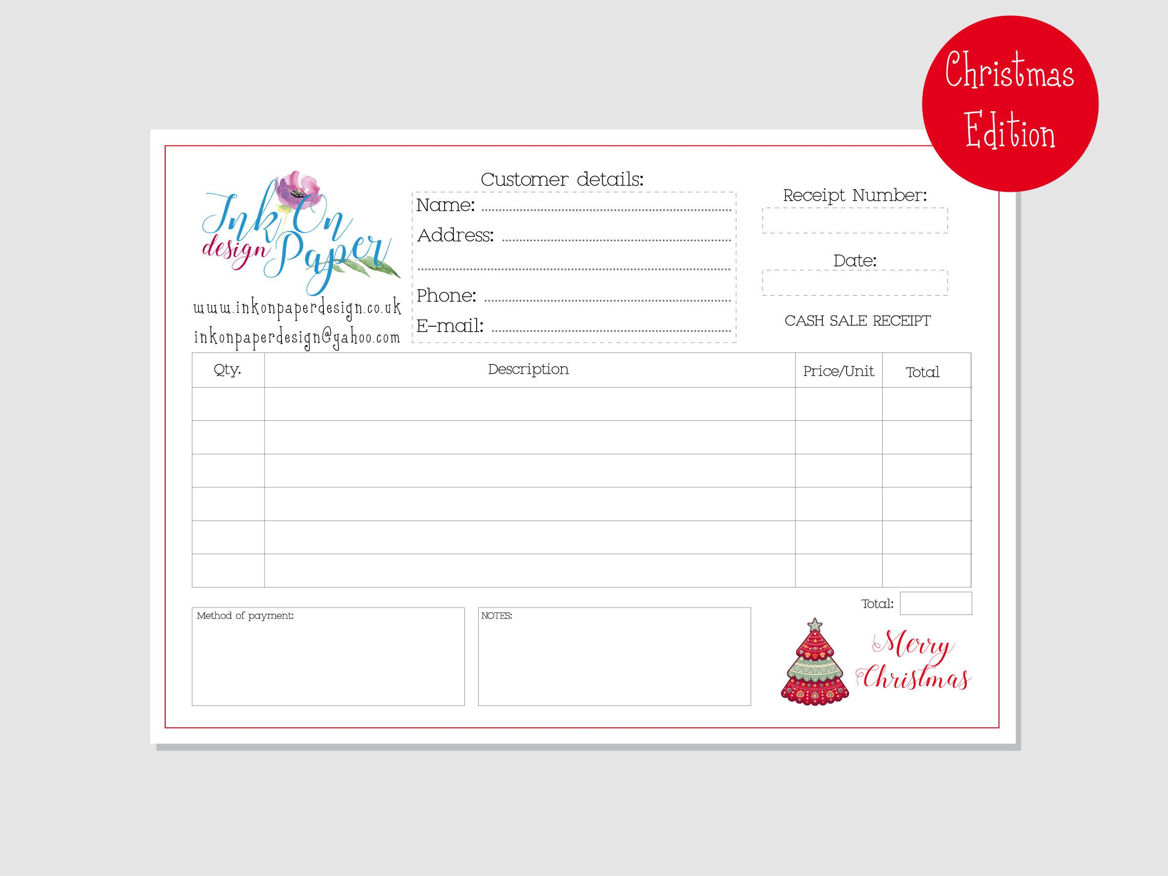 Christmas Fairs Receipt Book Personalised Order Book Christmas Edition Petty Cash Office Supplie Business Binders Personalized Books Handmade Packaging