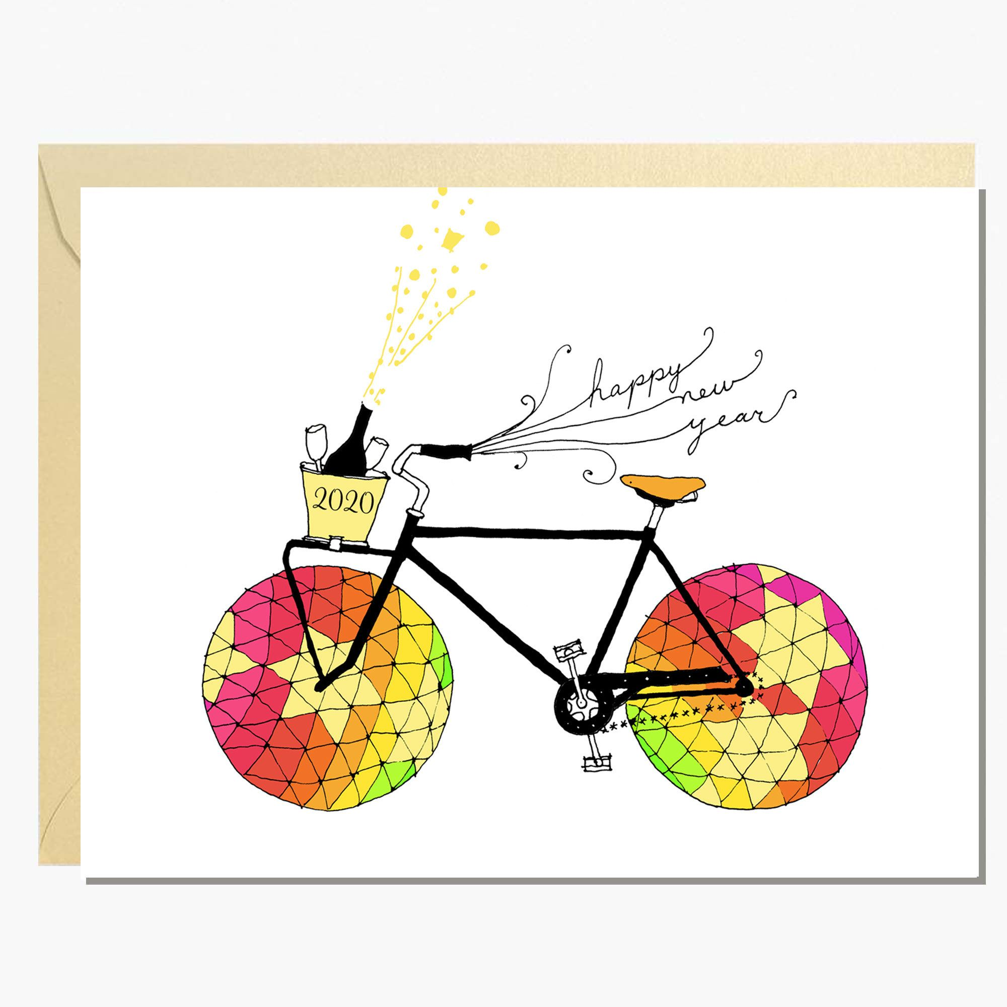 Happy New Year Bike Card 2020 Etsy Bike card, Seasons