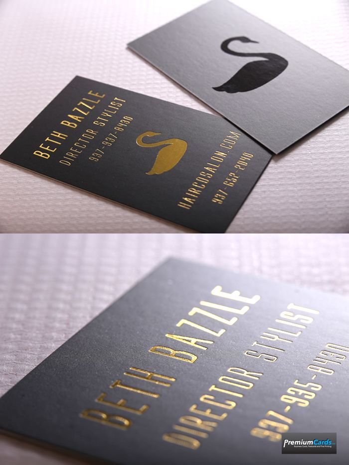 Silk Business Cards with Spot UV with Gold Foil make a dramatic ...