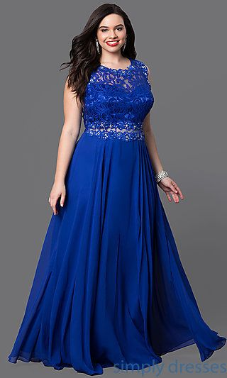 Lace-Bodice Long Plus-Size Formal Dress in Black | Plus size ...