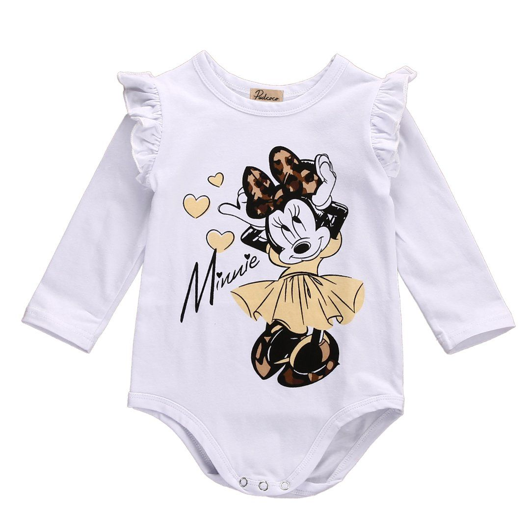3b8265f79d5 One Piece Baby Girl Minnie Mouse Long Sleeves cotton Romper Jumpsuit ...