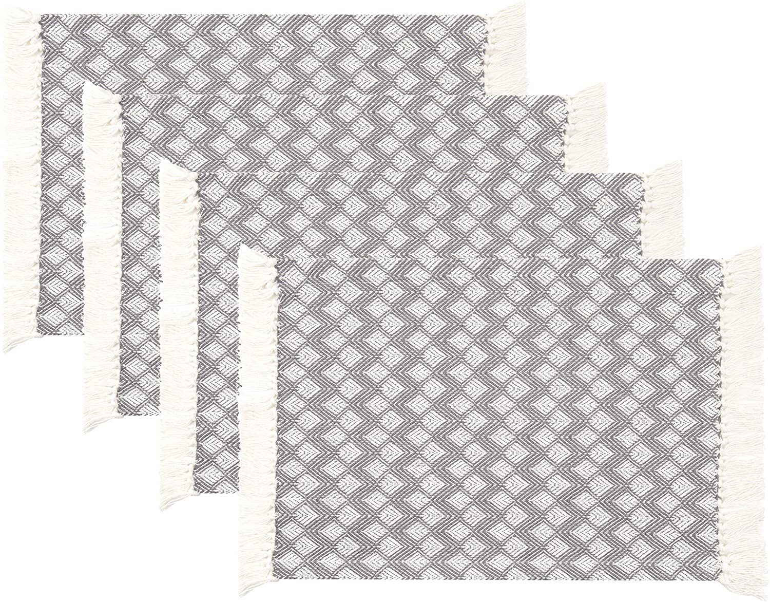 Photo of Sticky Toffee Cotton Woven Placemat Set with Fringe, Scalloped Diamond, 4 Pack, 14 x 19 – Gray Scalloped Diamond