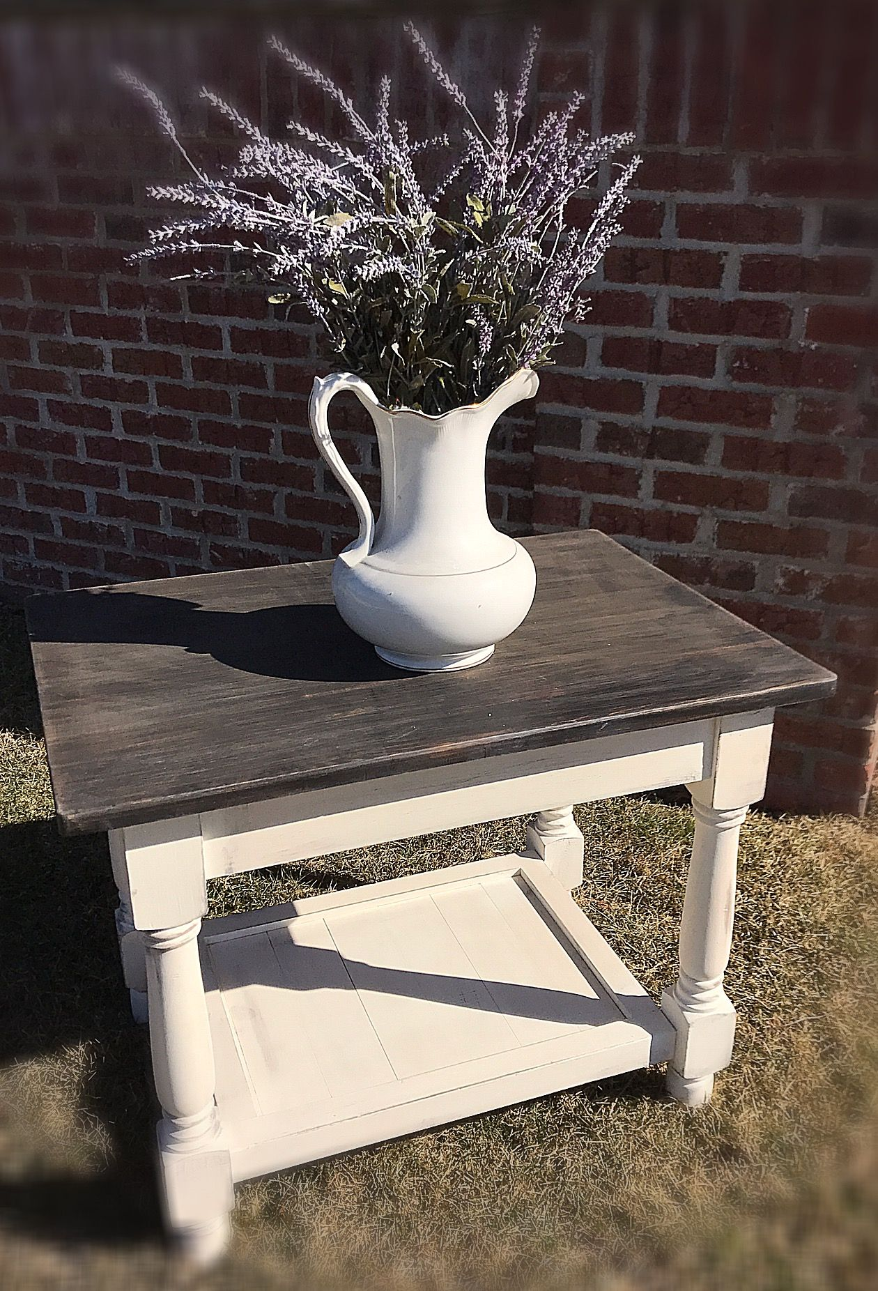 Rustic Off White Wood End Table Small Coffee Table Farm Style End