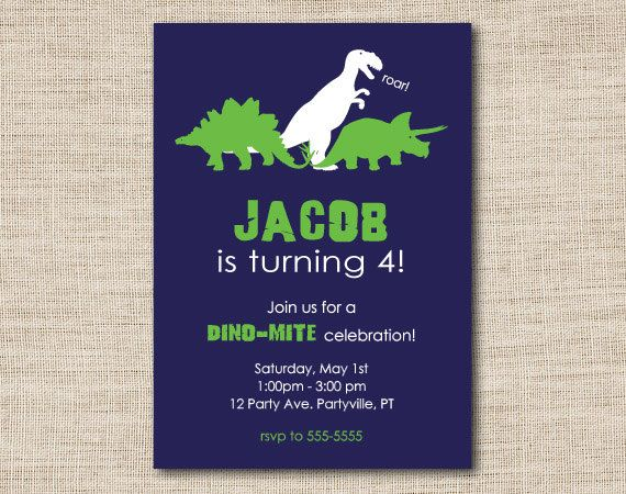 Personalized Dinosaur Birthday Invitations Set Of 15 Printed