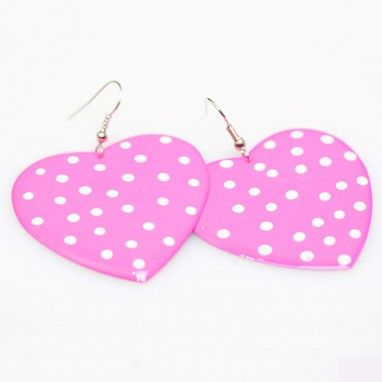 dotted pink heart earrings