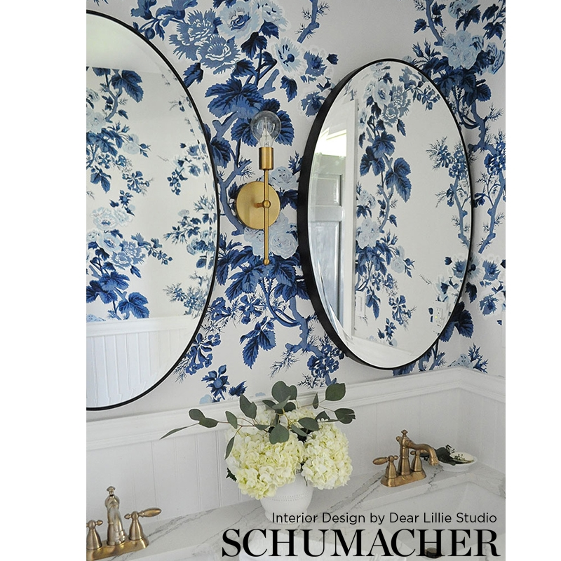 5006922 Pyne Hollyhock, Indigo Schumacher Wallpaper in