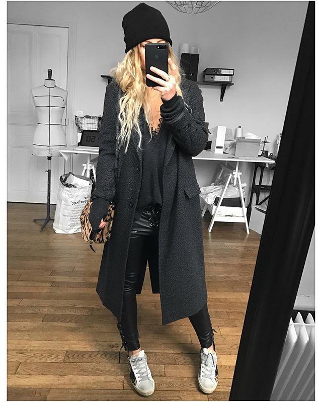 """Mélanie // EPONYM on Instagram: """"Et la version charcoal du pull Noa✔Manteau #isabelmarant sur @lagrandeboutiquelgb pull / Bonnet / cuir #eponymcreation sur @meleponym…"""""""