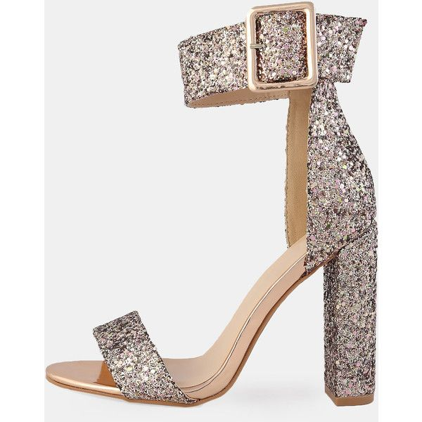 2cda3ff1a99ec3 SheIn(sheinside) Chunky Patent Ankle Strap Heels ROSE GOLD (€33 ...