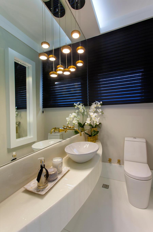Lavabo bancada curva estreita cuba de apoio metais dourados lumin rias espelho branco - Valvulas para lavabos ...