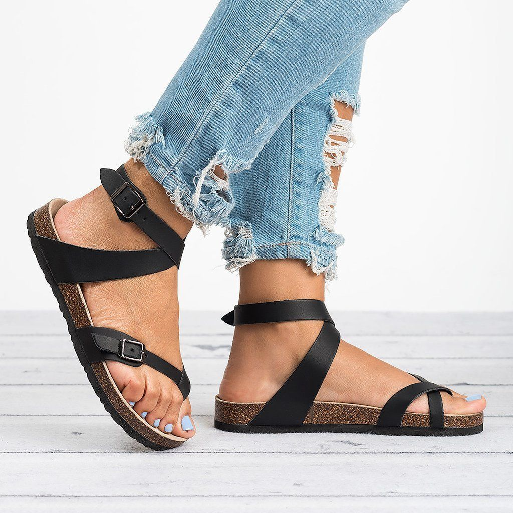 18b62229e668 Ankle Strap Buckle Flip Flop Gladiator Thong Flat Sandals