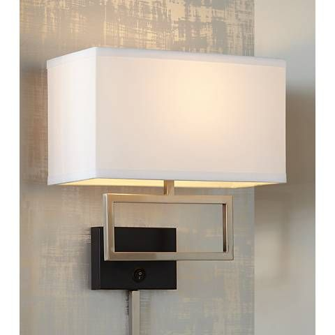 Possini Euro Brushed Steel Rectangle Plug In Wall Light In 2018
