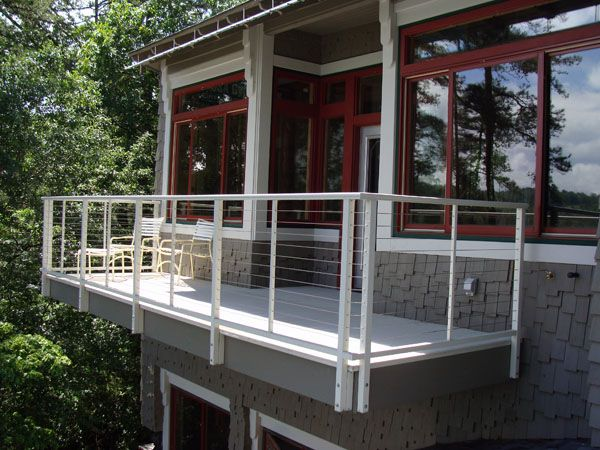 Balcony cable railings with 2 inch fascia mount post in ...