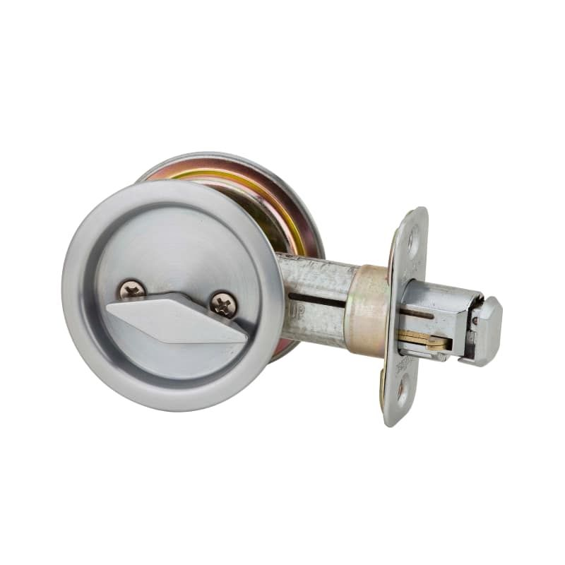 Kwikset 335 Privacy Bed Bath Pocket Door Lock Satin Chrome