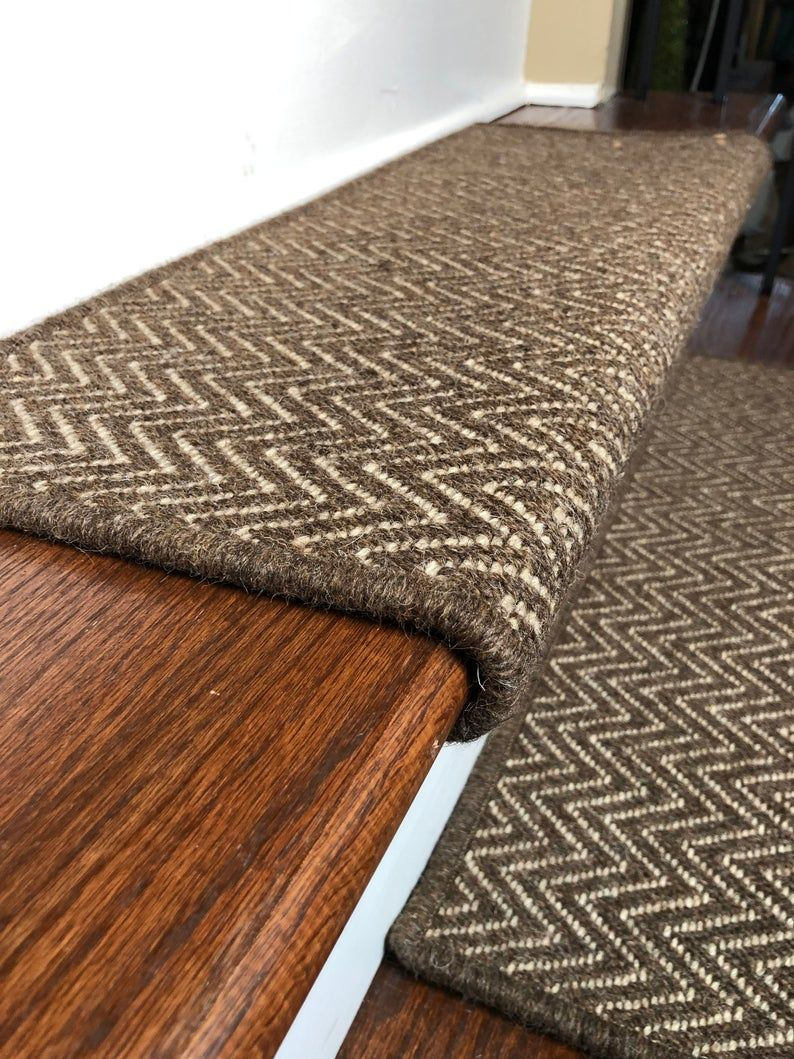 Best Padded Wool Carpet Stair Treads Aspen Color Caribou 400 x 300