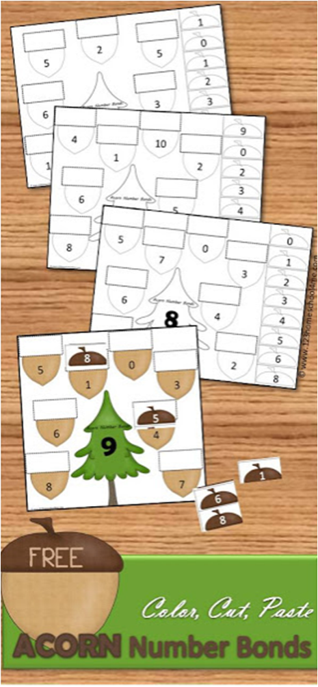 FREE Acorn Cut and Paste Math Worksheets | ABN COLE | Math, Math ...