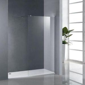 Mampara de ducha fijo para plato de ducha con barra for Diseno de banos con plato de ducha