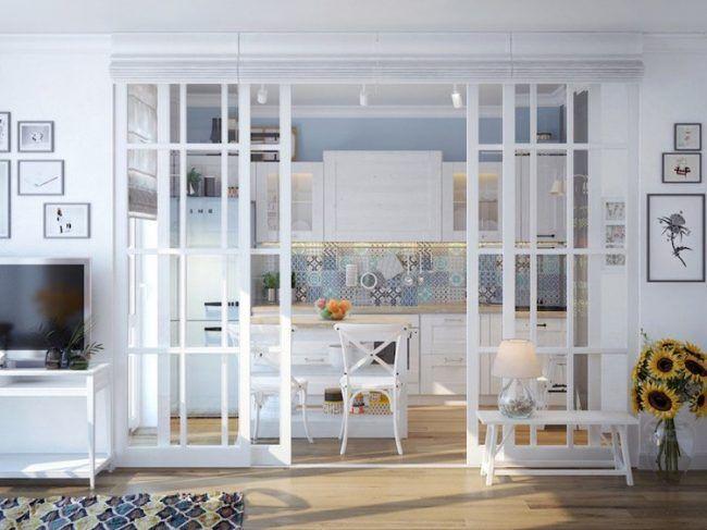 offene-küche-abtrennen-landhausstil-weiss-holz-glas-schiebetüren ...
