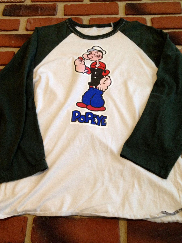 Large Popeye Baseball Tee With Green Sleeves Tees Sweatshirts Baseball Tee
