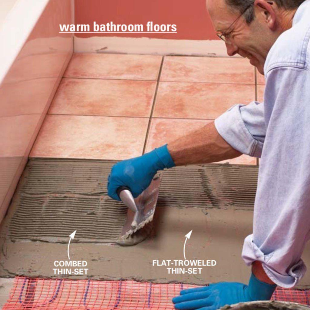 How To Install In Floor Heat Heated Tile Floor Radiant Floor Heating Heated Floors