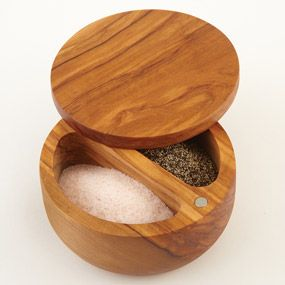 CHEFS Olive Wood Dual Bin Salt Box Artistically Carved Salt Keeper With  Dual Compartments Preserves