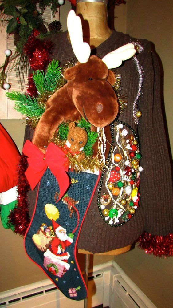 "UGLY CHRISTMAS Sweater Reindeer Indulgence Front/Back Design sz XL 48""chest #UglyChristmas #Crewneck"
