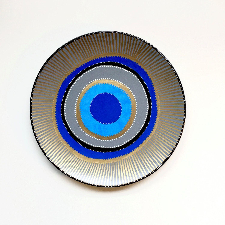 Evil Eye Decor  Decorative Plate  Golden Evil Eye