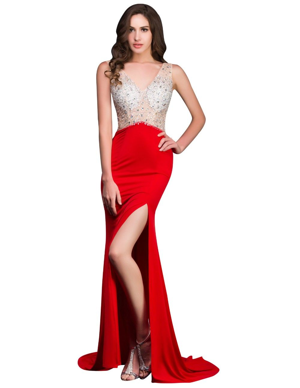 High split sparkly long evening gown prom eveninggown wedding