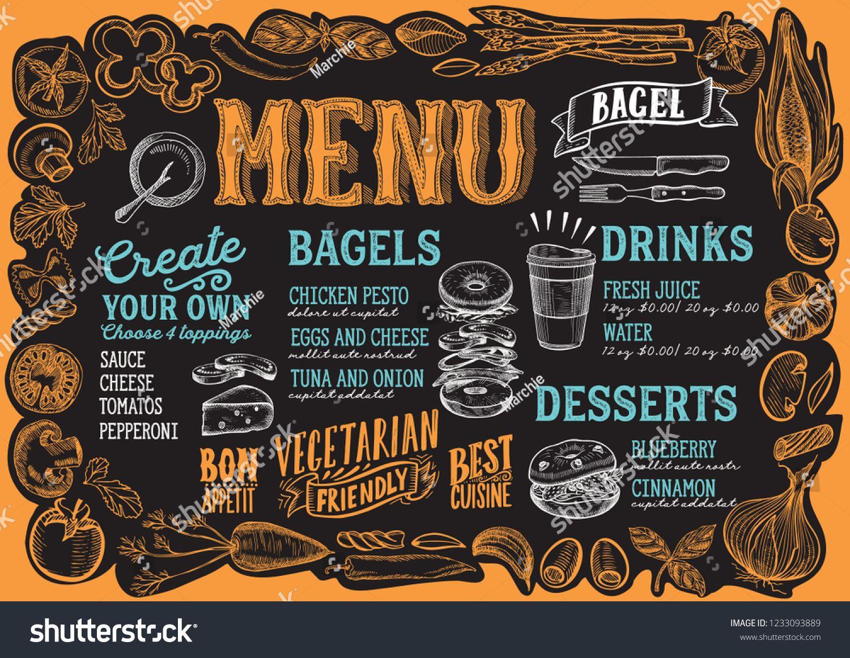 Bagel And Sandwich Menu Template For Restaurant On A Blackboard Background Vector Illustration Brochure For F Sandwich Menu Food Menu Design Food Menu Template