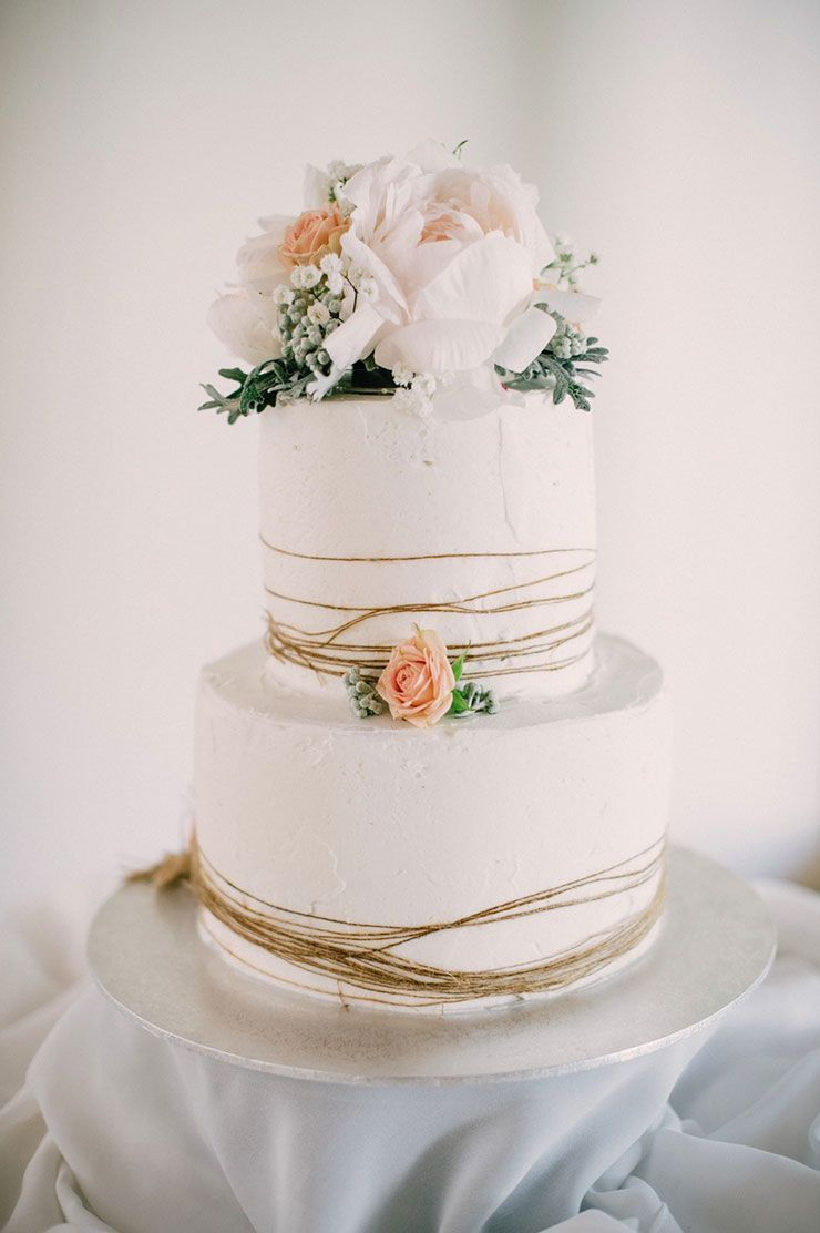 Rustic Twine Wrapped Buttercream Cake With Peach And White Flowers