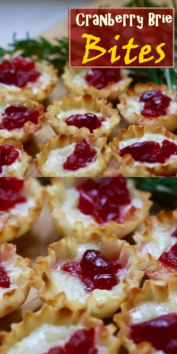 3-Ingredient Easy Cranberry Brie Bites Recipe  #cranberrybriebites