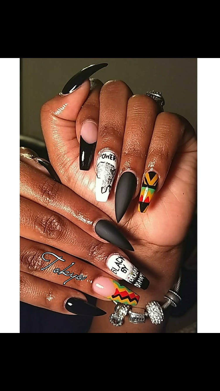 African American nail design SLAYED TO THE MAXXX Follow my