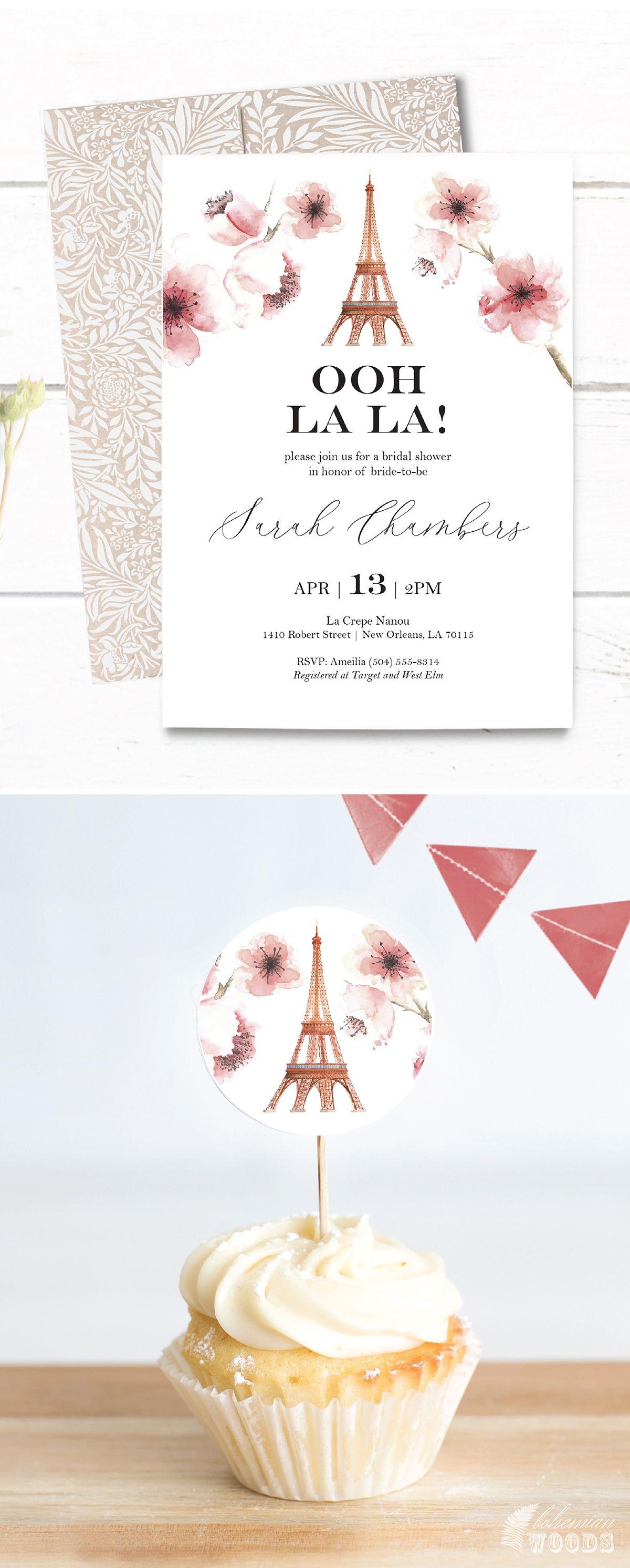 Paris Bridal Shower Template Invitation