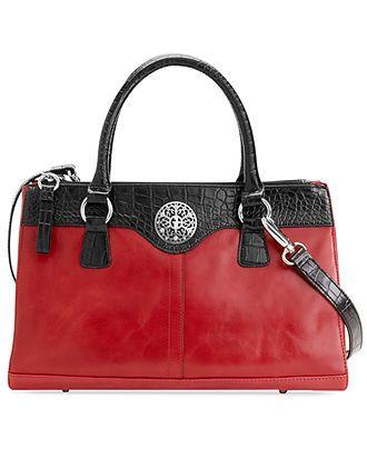 Giani Bernini Handbag Glazed Leather Double Zip Satchel Handbags Accessories