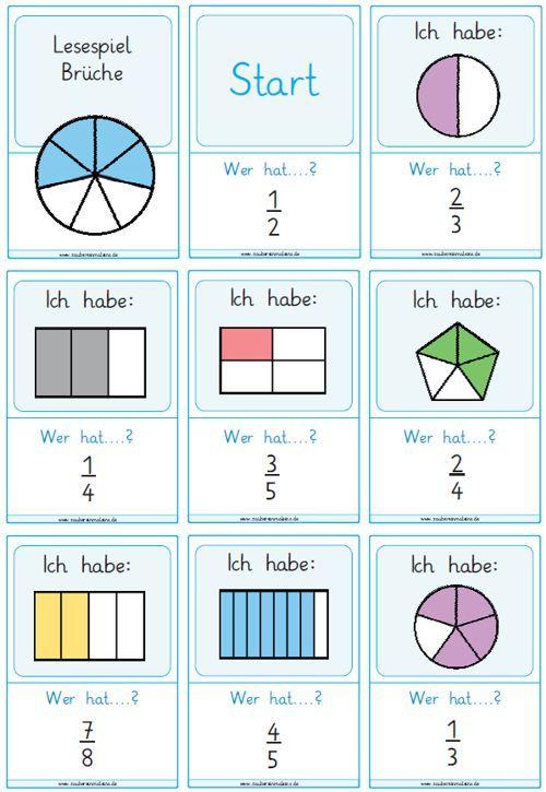 Lesespiele Brüche Matheunterricht Pinterest Math and School