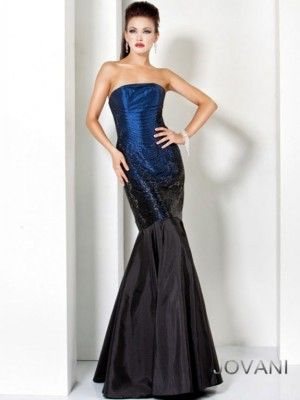 Jovani 6917 - Long, strapless blue-black mermaid evening gown for ...