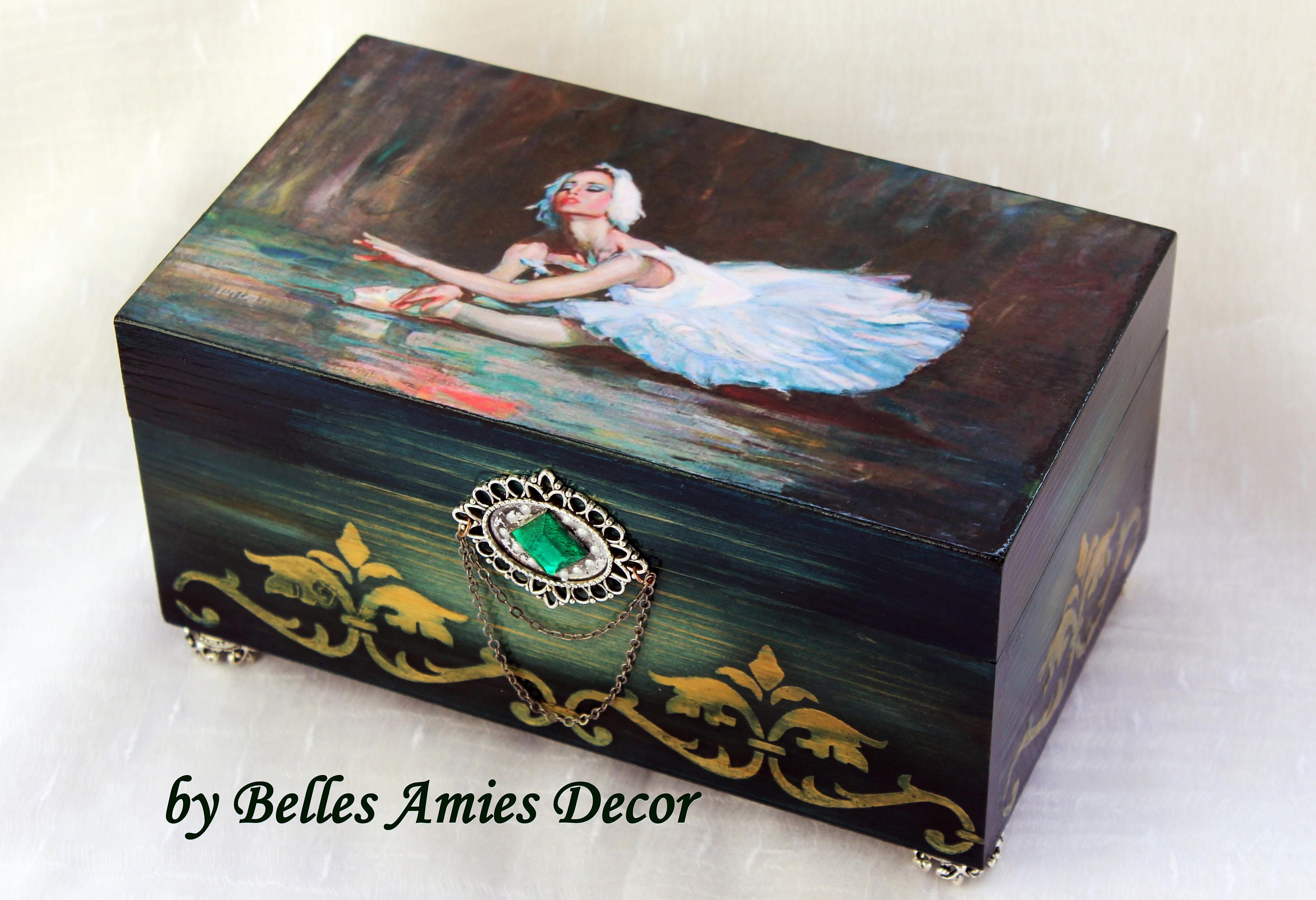 Ballerina jewelry box ballet gift wooden keepsake box dance