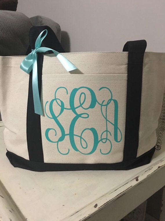 Monogrammed Tote Monogrammed Bag Personalized Tote Bridal