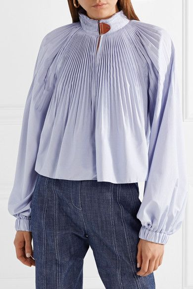 Isabelle Pleated Striped Poplin Blouse - Sky blue Tibi Buy Cheap Get Authentic Cheap Sale Genuine Sale For Sale Cheap Sale Marketable PgvI9R
