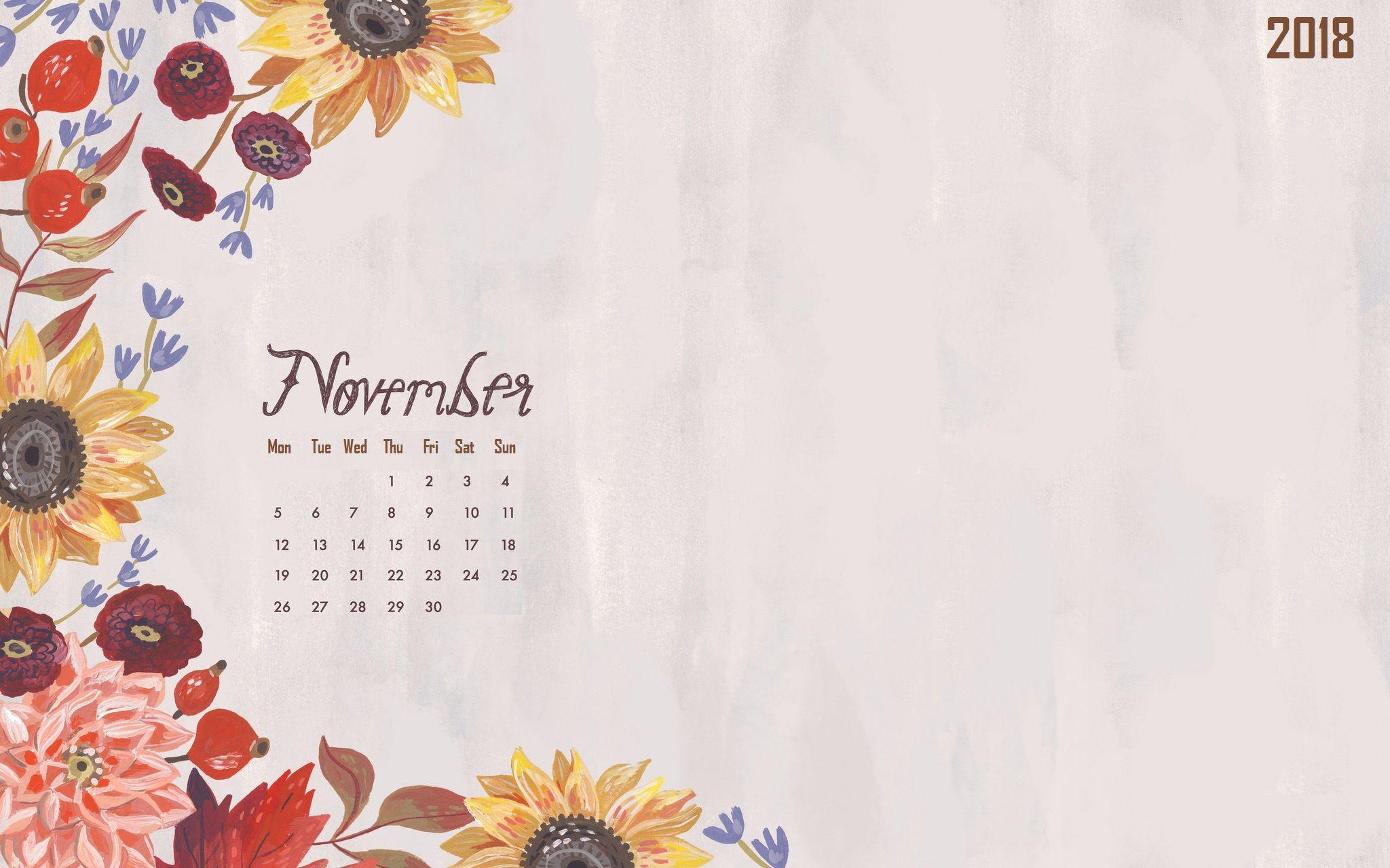 Floral November 2018 Calendar Wallpaper Calendar