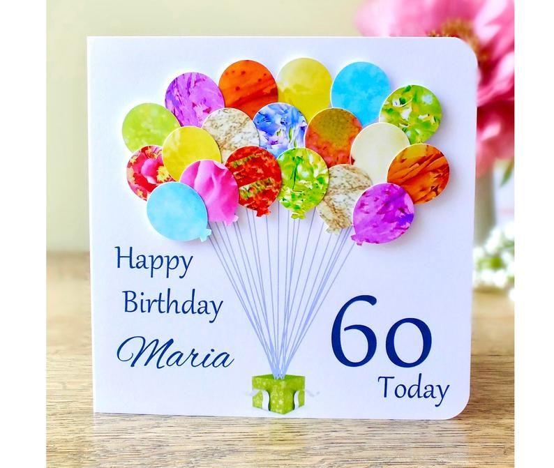 60th Birthday Card Personalised Age 60 Birthday Balloons Etsy 60th Birthday Cards Handmade Birthday Cards 70th Birthday Card