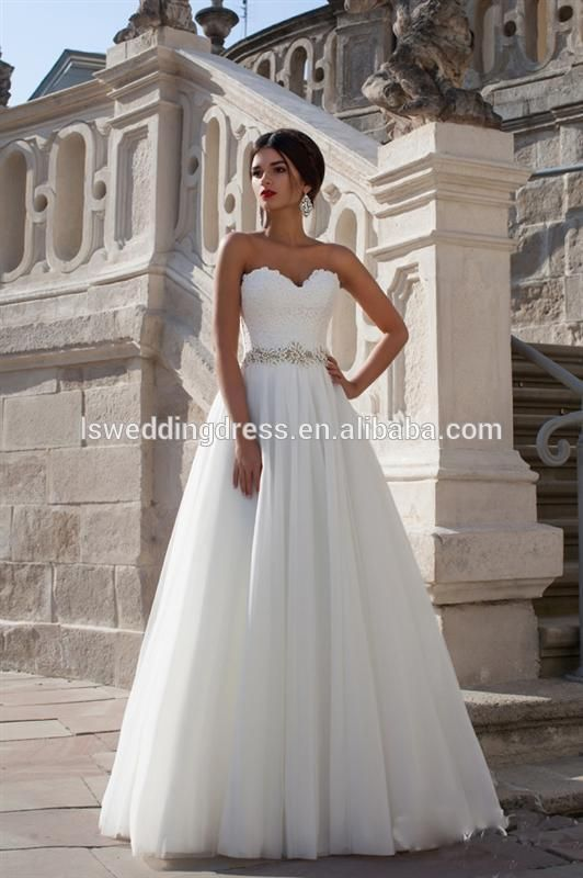 Diamond Belt Ruched Tulle A Line Lace Strapless Wedding Dress