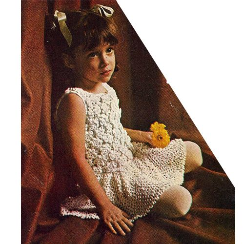 Little Girls Crochet Party Dress Pattern with picot circle skirt. / Vintage Knit Crochet Pattern Shop