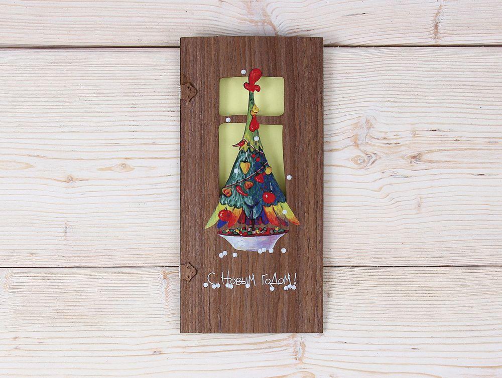 Одноклассников, открытка из дерева новый год