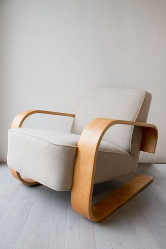 early rare prewar tank chair by Alvar Aalto created ca 1937 for