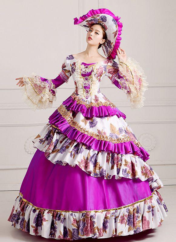 52a99e82e0a6 2016 Purple Women Vintage Rococo Marie Antoinette Masquerade Ball Gowns  Dress